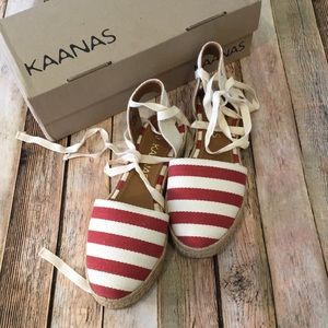 Kaanas Red Striped Ankle Tie Espadrilles 9 New